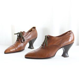 1900s Edwardian Leather Lace Up Oxford Heel 7 7.5
